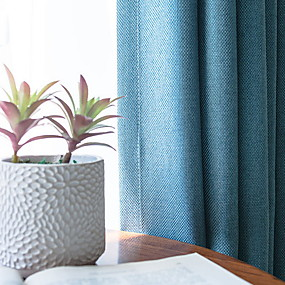 cheap Curtains & Drapes-Blackout Curtains Drapes Bedroom Solid Colored Cotton / Polyester Embroidery
