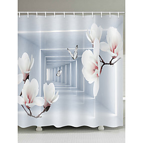 cheap Bath Accessories-Shower Curtains & Hooks Casual Modern Polyester Novelty Machine Made Waterproof Bathroom