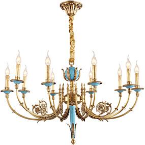 preiswerte Kronleuchter-ZHISHU 10-Licht Kerzen-Stil Kronleuchter Deckenfluter Messing Metall Kristall, Ministil 110-120V / 220-240V Inklusive Glühbirne