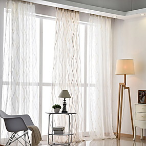 cheap Sheer Curtains-Sheer Curtains Shades Living Room Geometric Cotton / Polyester Jacquard
