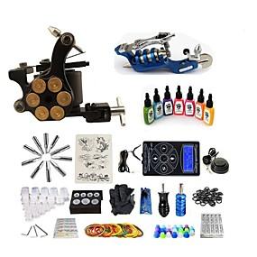preiswerte Tattoo Beginner Sets-BaseKey Tätowiermaschine Beginner Set - 2 pcs Tattoo-Maschinen mit 7 x 15 ml Tätowierfarben, Professionell Aleación LCD-Stromversorgung Case Not Included 20 W 1 x Drehtattoomaschine für Umrißlinien