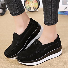 cheap Women's Slip-Ons & Loafers-Women's Loafers & Slip-Ons Creepers Nubuck leather Comfort Spring / Fall Black / Gray / Green