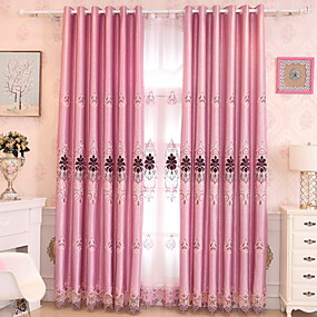 cheap Curtains Drapes-Curtains Drapes Living Room Geometric Cotton / Polyester Jacquard