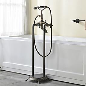 preiswerte Armaturen-Badewannenarmaturen - Antike Antikes Kupfer bodenmontiert Keramisches Ventil Bath Shower Mixer Taps / Zwei Griffe Zwei Löcher
