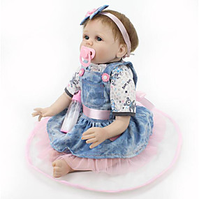 cheap Kids' Toys-NPKCOLLECTION NPK DOLL Reborn Doll Baby 22 inch Silicone Vinyl - Newborn lifelike Cute Hand Made Child Safe Non Toxic Kid's Girls' Toy Gift / Lovely / CE Certified / Natural Skin Tone / Floppy Head