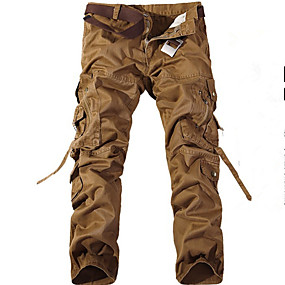 cheap Camping, Hiking & Backpacking-Men's Work Pants Hiking Cargo Pants Solid Color Winter Outdoor Ripstop Multi-Pockets Wear Resistance Nylon Cotton Pants / Trousers Coffee Work Hiking Outdoor Exercise S M L XL XXL