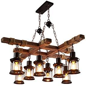 povoljno Lámpatestek-Luster s osvjetljenjem od 8 svjetiljki oslikana završnim obradom drvena metalna stakla mini stil 110-120v / 220-240v žarulja nije uključena / fcc / vde / e26 / e27