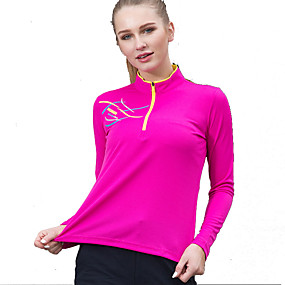 cheap Camping, Hiking & Backpacking-Women's Hiking Tee shirt Long Sleeve Standing Collar Tee Tshirt Top Outdoor Fast Dry Quick Dry Breathable Sweat wicking Spring Summer Polyester Patchwork Purple Red Blue Camping / Hiking Outdoor