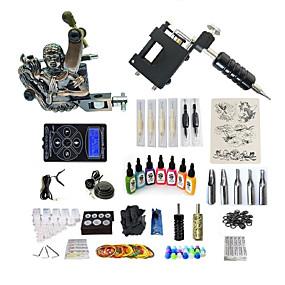 preiswerte Tattoo Beginner Sets-BaseKey Tätowiermaschine Beginner Set - 1 pcs Tattoo-Maschinen mit 7 x 15 ml Tätowierfarben, Profi Level, Professionell Aleación LCD-Stromversorgung Case Not Included 20 W 1 x Drehtattoomaschine für