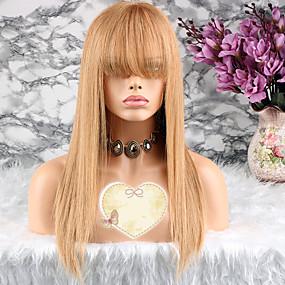 ราคาถูก Short Style Lace Wigs-ผม Remy มีลูกไม้ด้านหน้า วิก ตัดผมหลายชั้น เทย์เลอร์ สไตล์ ผมบราซิล Straight ทอง วิก 130% Hair Density ผมเด็ก สำหรับผู้หญิง Short ขนาดกลาง ยาว วิกผมแท้ Luckysnow