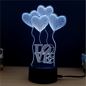 cheap 3D Night Lights-3D Nightlight Christmas Wedding Decoration DC Powered / USB 1 set