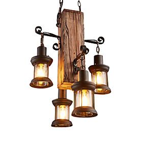 cheap Lantern Design-4-Light 45 cm Mini Style Pendant Light Wood / Bamboo Industrial Rustic / Lodge / Country 110-120V / 220-240V