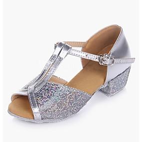 저렴한 댄스 신발-여아 댄스 신발 스파클링 글리터 / 파이에트 / PVC 가죽 라틴 슈즈 힐 낮은 굽 주문제작 가능 골드 / 슬리버 / 성능 / 연습용 / EU39