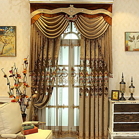 cheap Blackout Curtains-Blackout Curtains Drapes Bedroom Contemporary Cotton / Polyester Embroidery