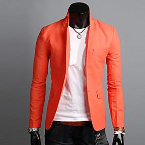 ราคาถูก New Arrivals-สำหรับผู้ชาย ทุกวัน / ทำงาน ง่าย / ไม่เป็นทางการ ฤดูใบไม้ผลิ / ตก ปกติ เสื้อคลุมสุภาพ, สีพื้น ปกคอแบะของเสื้อแบบน็อตช์ แขนยาว ผ้าลินิน สีดำ / สีฟ้า / ขาว