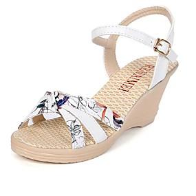 preiswerte Sandalen mit Keilabsatz-Damen Sandalen Keilabsätze Keilabsatz Offene Spitze PU Komfort Frühling / Sommer Weiß / Blau / Rosa