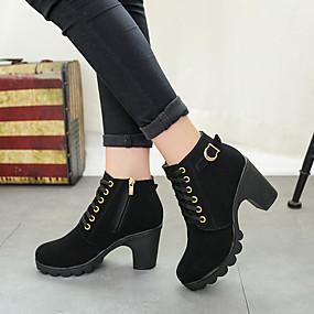 billige Mote Boots-Dame Støvler Tykk hæl Rund Tå PU Ankelstøvler Høst vinter Svart / Mørkebrun / Militærgrønn