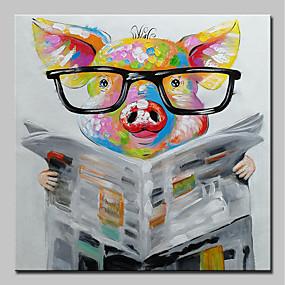 voordelige Schilderijen van dieren-Hang-geschilderd olieverfschilderij Handgeschilderde - Pop Art Modern Inclusief Inner Frame / Uitgerekt canvas