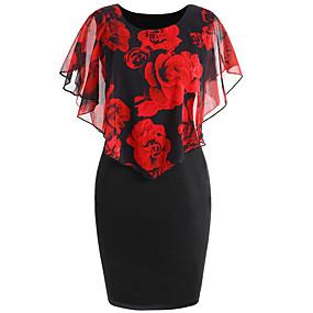 preiswerte Damen Kleider-Damen Grundlegend Bodycon Kleid - Druck, Blumen Übers Knie