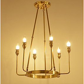 cheap Chandeliers-ZHISHU 6-Light 50 cm Crystal / Mini Style Chandelier Metal Glass Candle-style Brass Rustic / Lodge / Traditional / Classic 110-120V / 220-240V