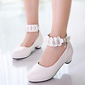 billige Kids' Shoes Promotion-Jente Sko til blomsterpiker / Tiny Hæler for Teens PU Høye hæler Små barn (4-7år) / Store barn (7 år +) Hvit / Svart / Rosa Vår / Høst / EU37