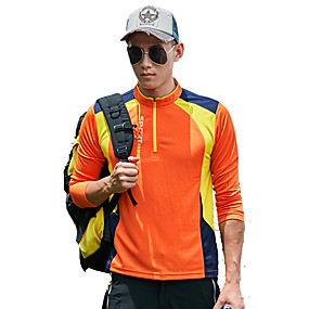 cheap Camping, Hiking & Backpacking-Men's T shirt Hiking Tee shirt Long Sleeve Standing Collar Tee Tshirt Top Outdoor Fast Dry Quick Dry Breathable YKK Zipper Spring Summer Polyester Patchwork Blue Orange Green Camping / Hiking Outdoor