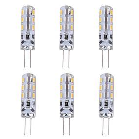 cheap LED Bi-pin Lights-1W G4 Bi-pin LED Bulb Light 24 SMD 3014 Red Blue Green Decorative Atmosphere Lighting DC 12V (6 Pcs)