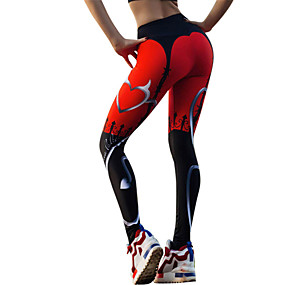 cheap Yoga & Fitness-Women's High Waist Yoga Pants Leggings Breathable Quick Dry Heart Black / Red Zumba Fitness Gym Workout Winter Sports Activewear Stretchy / Athleisure