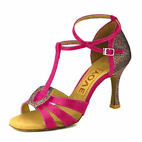 voordelige Wijdere maten schoenen-Dames Dansschoenen Satijn Latin dansschoenen / Salsa dansschoenen Gesp / Gestrikt lint Sandalen / Hakken Speciale hak Aanpasbaar Bronzen / Amandel / Vleeskleurig / Prestatie / Leer / Professioneel