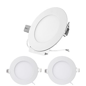 cheap LED Recessed Lights-3PCS 6W Round Flat LED Panel Light LampUltra-thin LED Recessed Ceiling Light Natural White / Cold White / Warm White AC85-265V