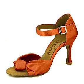 levne Větší obuv-Dámské Taneční boty Satén Boty na latinskoamerické tance / Boty na salsu Přezky / Stuha Sandály / Podpatky Na zakázku Obyčejné Bronzová / Mandlová / Akt / Výkon / Kůže / Profesionální / EU38