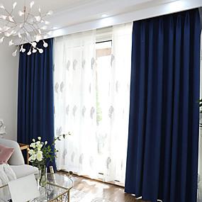 preiswerte Vorhänge und Gardinen-Verdunkelungsvorhänge Vorhänge zwei Panels Schlafzimmer einfarbig Polyester-Mischgarn gefärbt