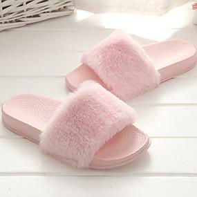 cheap Fashion Slippers-Women's Slippers & Flip-Flops Flat Heel Open Toe Fabric Comfort Spring & Summer Gray / Pink / Khaki