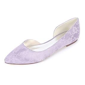 preiswerte Top Shoes & Bags For You-Damen Flache Schuhe Flacher Absatz Spitze Zehe Satin Ballerina Frühling Sommer Grün / Blau / Elfenbein / Hochzeit / Party & Festivität