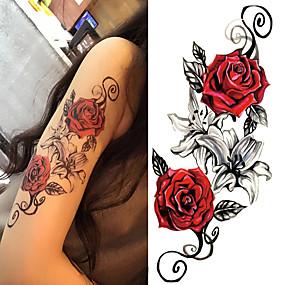 cheap Temporary Tattoos-3 pcs Tattoo Stickers Temporary Tattoos Flower Series / Romantic Series Body Arts Body / Shoulder / Leg