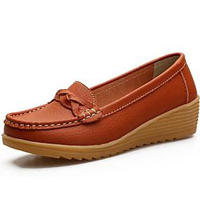 voordelige Damesinstappers & loafers-Dames Leer Herfst winter Comfortabel / Mocassin Loafers & Slip-Ons Sleehak Oranje / Geel / Rood / Feesten & Uitgaan
