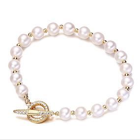 preiswerte Top Jewelry & Watch-Damen Kubikzirkonia Süßwasserperle Perlenarmband Einfach Koreanisch Modisch Edelstahl Armband Schmuck Gold Für Geschenk Alltag / vergoldet