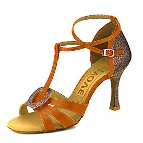levne Větší obuv-Dámské Taneční boty Satén Boty na latinskoamerické tance / Boty na salsu Přezky / Stuha Sandály / Podpatky Na zakázku Obyčejné Bronzová / Mandlová / Akt / Výkon / Kůže / Profesionální / EU37