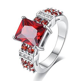 povoljno Nakit za vjenčanje i izlaske-Žene Band Ring Zaručnički prsten Kristal Kubični Zirconia 1pc Crvena Tirkiz Plastika Titanij Circle Shape Geometric Shape Vintage Elegantno Vjenčanje Angažman Jewelry