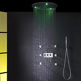 preiswerte Renovierung-modernes Badezimmer-Duschhahn-Set / 20-Zoll-Rundregen-Wechselstrom führte Badduschkopf / Messinghandbrause eingeschlossen / Badekurortmassagespraydüsenbadduschemischerhähne
