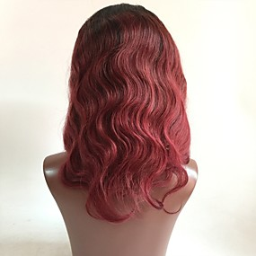 ราคาถูก Lace Wigs with Baby Hair-ผม Remy มีลูกไม้ด้านหน้า วิก ตัดผมหลายชั้น สไตล์ ผมบราซิล Wavy แดง วิก 130% Hair Density ผมเด็ก ผม Ombre รากมืด สำหรับผู้หญิง Short ขนาดกลาง ยาว วิกผมแท้ Aili Young Hair