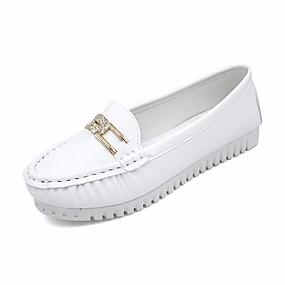 preiswerte Bequeme Halbschuhe-Damen Loafers & Slip-Ons Flacher Absatz PU Komfort / Mokassin Frühling Schwarz / Blau / Rosa