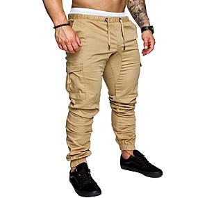 ราคาถูก New Arrivals-สำหรับผู้ชาย พื้นฐาน ขนาดพิเศษ ทุกวัน กางเกงวอร์ม / Cargo Pants กางเกง - สีพื้น ฤดูใบไม้ผลิ ตก สีน้ำเงินกรมท่า สีกากี เทาอ่อน XXL XXXL XXXXL