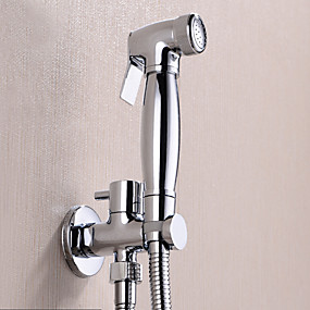 cheap Bidet Faucets-Fancy Bathroom Sink Faucet - Pre Rinse Chrome Wall Mounted One Hole / Single Handle One HoleBath Taps Washlet