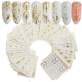 baratos Maquiagem & Beleza-30 pcs Dicas de unhas artificiais Nail Art Kit Adesivos arte de unha Manicure e pedicure Portátil Decalques de unha Diário