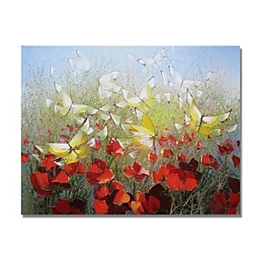 povoljno Slike za cvjetnim/biljnim motivima-Hang oslikana uljanim bojama Ručno oslikana - Sažetak Pejzaž Comtemporary Moderna Uključi Unutarnji okvir / Prošireni platno