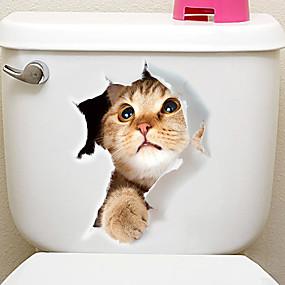 preiswerte Haus & Garten-Kühlschrank Sticker Bad Sticker - Tier Wandaufkleber Tiere 3D Wohnzimmer Schlafzimmer Badezimmer Küche Esszimmer Studierzimmer / Büro
