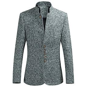 preiswerte Herrenmode-Herrn Party / Alltag Frühling & Herbst Standard Blazer, Solide Ständer Langarm Polyester / Elasthan Marineblau / Grau / Wein