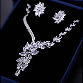 povoljno Nakit za vjenčanje i izlaske-Žene Kubični Zirconia Komplet nakita Viseće naušnice Ogrlice s privjeskom neprilagođeno Leaf Shape Cvijet Moda Naušnice Jewelry Obala Za Vjenčanje Angažman