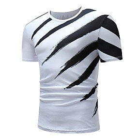 cheap Athleisure Wear-Men's T shirt Shirt Striped Graphic Short Sleeve Daily Tops Basic Round Neck White